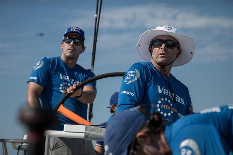 Volvo Ocean Race Leg 8 from Itajai to Newport, day 01, on board Vestas 11th Hour. Charlie Enright and Mark Towill happy to start for a new leg heading to US. - photo © Martin Keruzore / Volvo Ocean Race