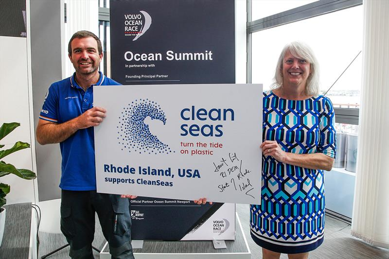 Volvo Ocean Race - Newport stopover. Ocean Summit. 18 May, 2018.Charlie Enright, Skipper Vestas 11th Hr Racing, joins Janet Coit representing the state of Rhode Island to sign up to the UNE CleanSeas campaign. 18 May, 2018. - photo © Jesus Renedo / Volvo Ocean Race