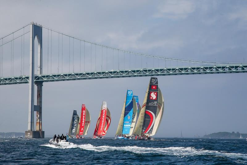 Boats headed under the Newport Bridge photo copyright Jesus Renedo / Volvo Ocean Race taken at  and featuring the Volvo One-Design class