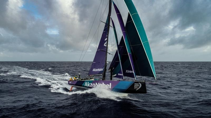 Team AkzoNobel set a 24hr distance record of over 600nm Volvo Ocean Race Leg 9, from Newport to Cardiff, day 3, on board Team AkzoNobel. Surfing the waves and flying along at 25 knots. photo copyright Konrad Frost / Volvo Ocean Race taken at  and featuring the Volvo One-Design class
