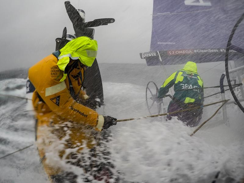 Leg 9, from Newport to Cardiff, day 2 on board Team AkzoNobel. Wet and wild morning. 24 May, - photo © Konrad Frost / Volvo Ocean Race