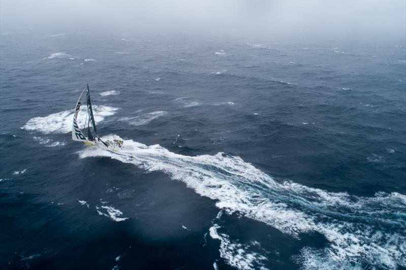 Leg 9, from Newport to Cardiff, Day 6 on board Brunel. Sending it in the foggy North Atlantic. 24 May, Leg 9 - Newport RI to Cardiff - 2017/18 Volvo Ocean Race - photo © Sam Greenfield / Volvo Ocean Race
