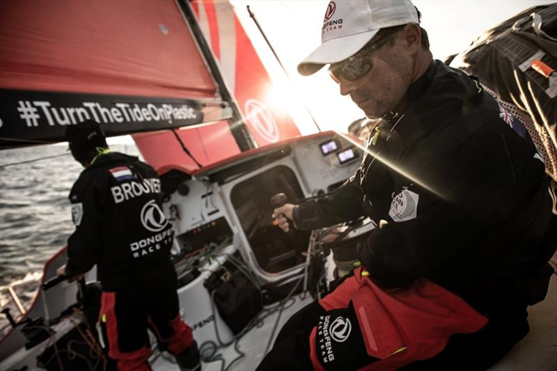 Volvo Ocean Race Leg 10, from Cardiff to Gothenburg, day 02, on board Dongfeng. Daryl Wislang in action triming the traveler. - photo © Martin Keruzore / Volvo Ocean Race
