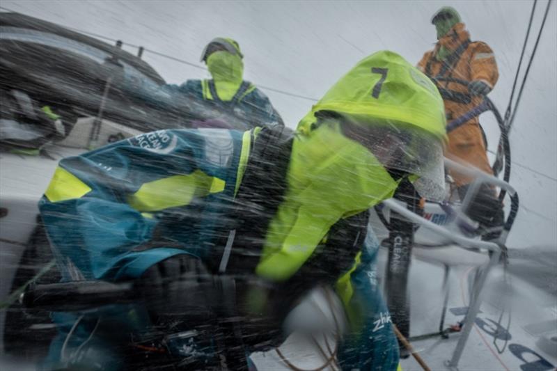 Volvo Ocean Race Leg 10, from Cardiff to Gothenburg, day 5, on board AkzoNobel. Emily Nagel working hard in the rain / sleet / spray / waves. - photo © James Blake / Volvo Ocean Race