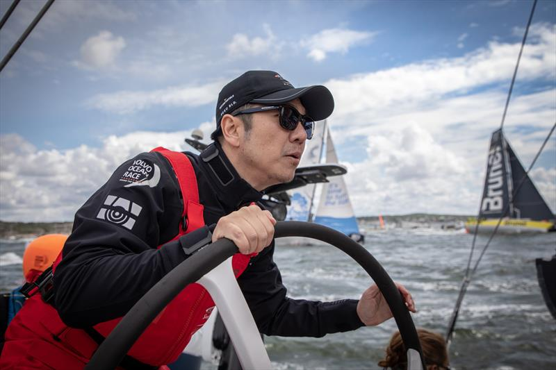 Mr Lee (Owner helming) Leg 11, from Gothenburg to The Hague, day 1 on board Sun Hung Kai / Scallywag. 21 June, . - photo © Konrad Frost / Volvo Ocean Race