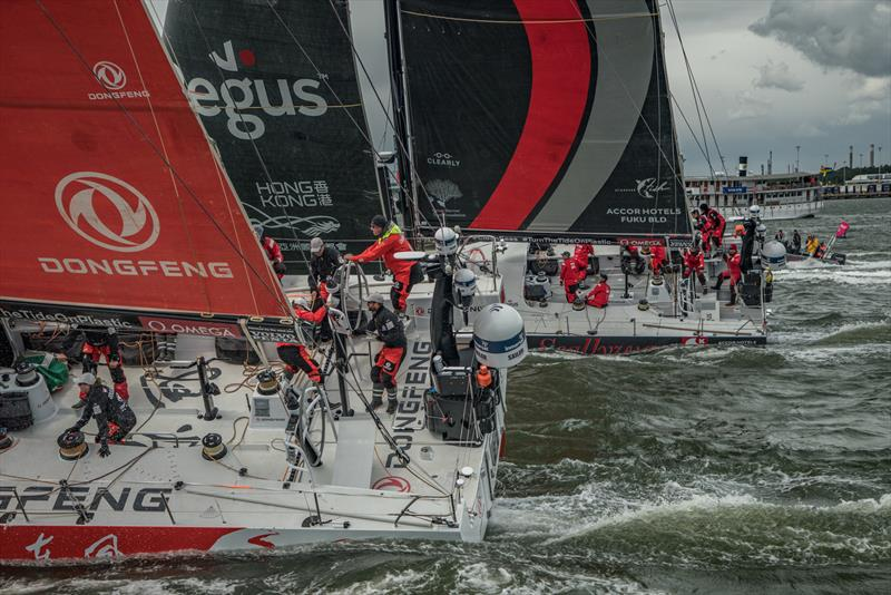 Leg 11, from Gothenburg to The Hague, day 01 on board Vestas 11th Hour. 21 June, . Start of the race, Dongfeng and Scallywag next to us. - photo © Jeremie Lecaudey / Volvo Ocean Race