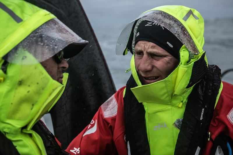 Leg 11, from Gothenburg to The Hague, day 03 on board Dongfeng. Charles Caudrelier talking with Daryl Wislang. 23 June, . - photo © Martin Keruzore / Volvo Ocean Race