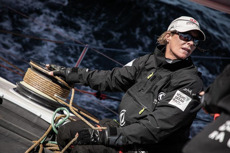 Leg 11, from Gothenburg to The Hague, day 03 on board Dongfeng. Carolijn Brouwer trimming the front sails. 23 June, . - photo © Martin Keruzore / Volvo Ocean Race