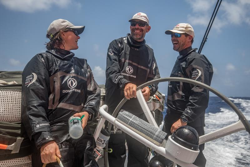 Stu Bannatyne (centre) Marie Riou (left) and Daryl Wislang (right) - Leg 8 from Itajai to Newport, day 12 on board Dongfeng. 03 May, . Watch changes are always a moment to relax and spend some time with the opposite watch crew. - photo © Jeremie Lecaudey / Volvo Ocean Race