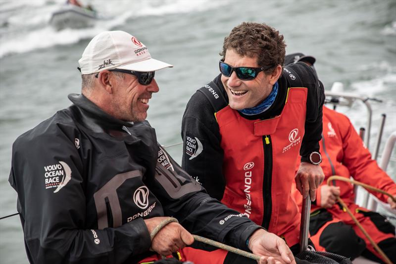 Mission accomplished Stu Bannatyne (left) with Charles Caudrelier (skipper, Dongfeng Racing) Leg 11, from Gothenburg to The Hague, day 04 on board Dongfeng. 24 June, . - photo © Martin Keruzore / Volvo Ocean Race