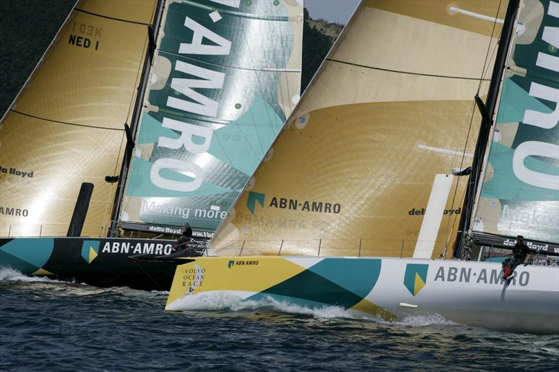Volvo Open 70 s ABN AMRO ONE and her sister ship ABN AMRO TWO racing side by side at the start of Leg 4 to Rio De Janeiro - 2004 Volvo OR - photo © David Branigan / Volvo Ocean Race