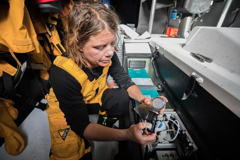Liz Wardley collects a water sample aboasrd Turn the Tide on Plastic on December 10, 2017, en route Cape Town, South Africato Melbourne, Australia - photo © Jeremie Lecaudey/Volvo Ocean Race