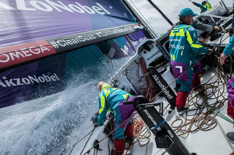 Leg 3, Cape Town to Melbourne, day 3, on board AkzoNobel. The team preparing for a sail change. - photo © James Blake / Volvo Ocean Race