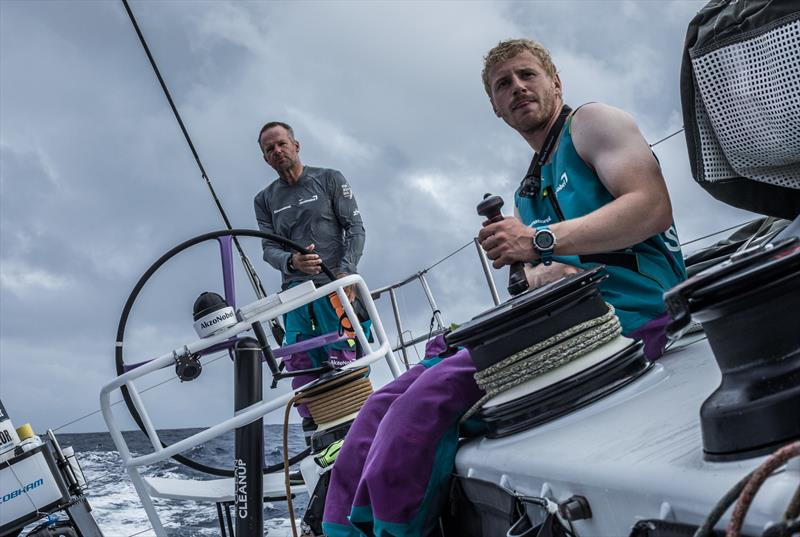 Leg 02, Lisbon to Cape Town, day 8, on board AkzoNobel. Nicolai Sehested and Chris Nicolson working together again. - photo © James Blake / Volvo Ocean Race