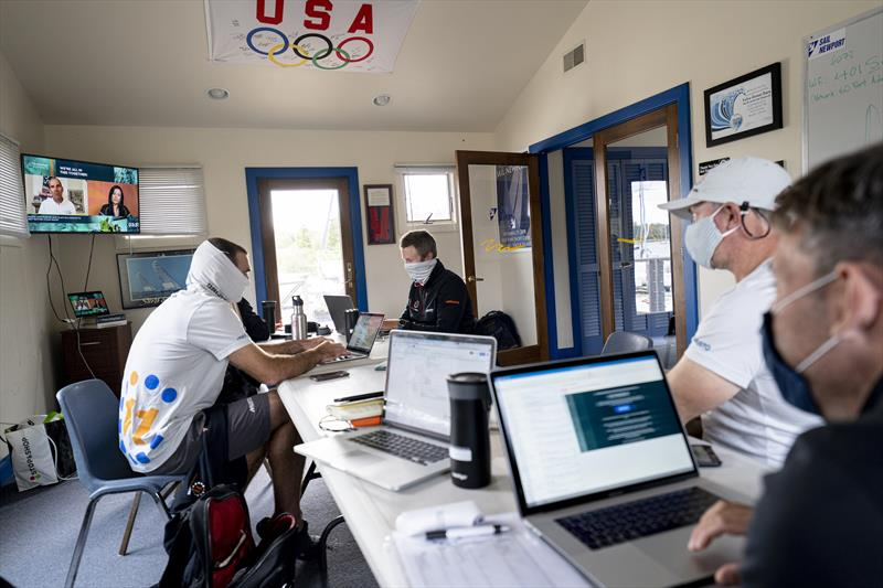 11th Hour Racing Team gather in Newport, RI to watch The Ocean Race Summit, streaming live from Newport.  photo copyright Amory Ross | 11th Hour Racing taken at Sail Newport and featuring the Volvo One-Design class