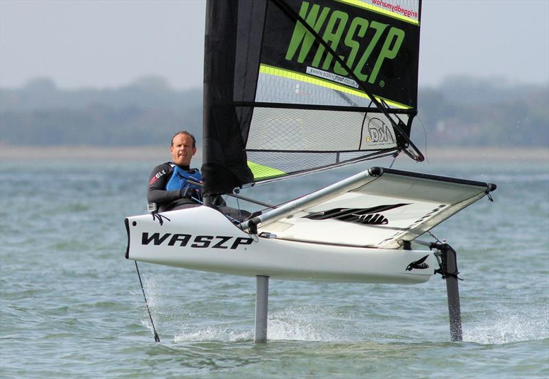 Mark Jardine tries out the Waszp - photo © Duncan Hepplewhite