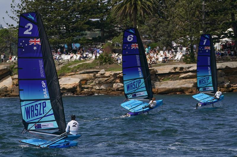 (Stella Bilger (NZL) centre - Day 1 -  Sydney SailGP Inspire , Event 1 Season 2 in Sydney Harbour, Sydney, Australia. 28 February  - photo © Sam Greenfield/SailGP
