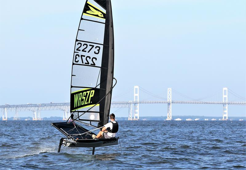 Austin Powers flies his WASZP near the Chesapeake Bay Bridge; he will be comepting in the 2020 Two Bridge Fiasco aboard his foiler - photo © Image courtesy of Will Keyworth