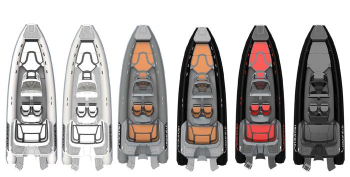 The colour range for the  new look Sport 800  - photo © Highfield Boats