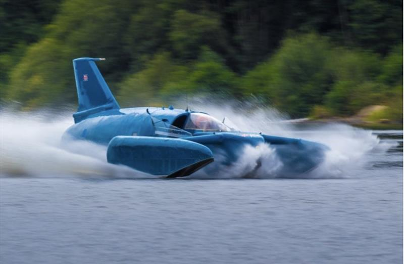Longbow's build team assisted with the recovery and restoration of Donald Campbell's Bluebird K, seen here running at speed in Scotland - photo © West System International