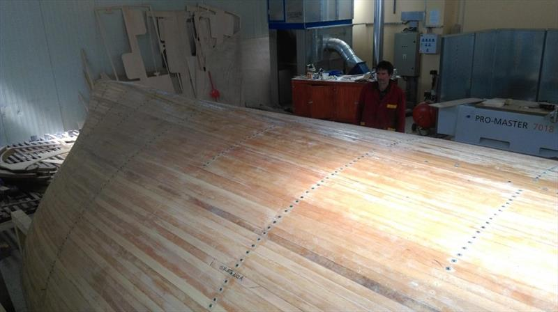 Croatian Gajeta build - cedar strip planks have cured into place and the wax-coated screws are being withdrawn photo copyright Wessex Resins & Adhesives taken at  and featuring the  class