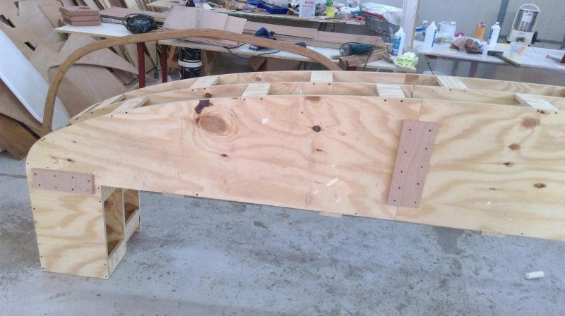 This former has been made from cheap building ply cross braced with offcuts and will form the basis for the cockpit coaming - photo © Wessex Resins & Adhesives