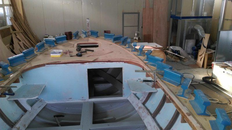 Here the plywood decks are being fastened down and will be covered with WEST SYSTEM epoxy - photo © Wessex Resins & Adhesives