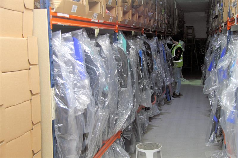 Inside the Shoeburyness warehouse of Wetsuit Outlet - photo © Mark Jardine