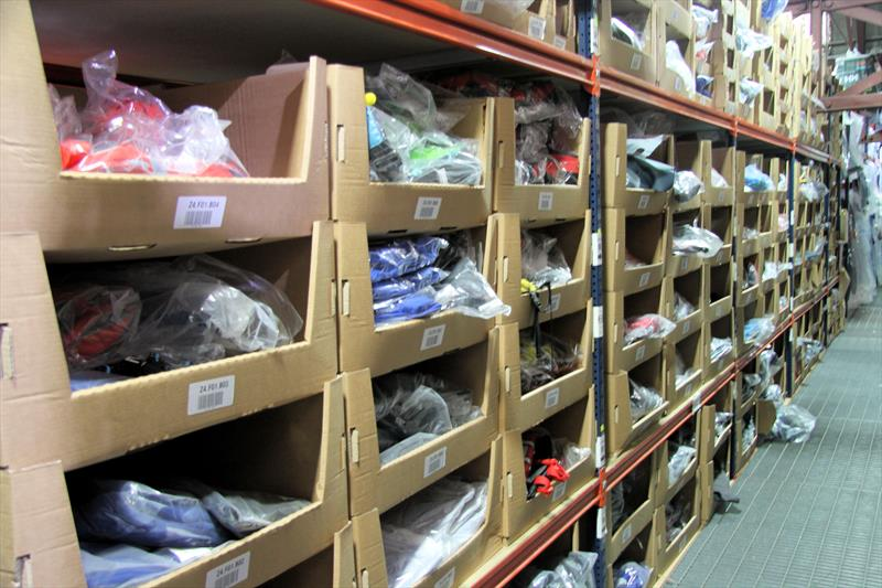 Stock in the Wetsuit Outlet Shoeburyness warehouse - photo © Mark Jardine