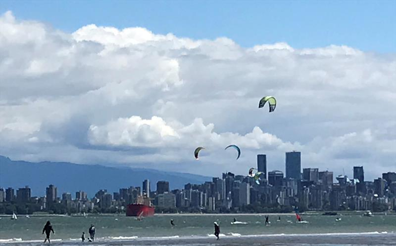Windsurfers and kiteboarders out on the water in Vancouver - photo © Matt Littledale
