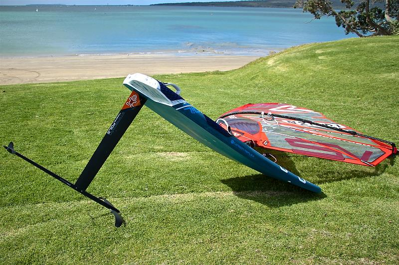 Windfoiler - basic setup the foil replaces the tail fin, and no centreboard - photo © Richard Gladwell
