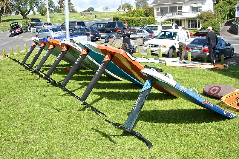 Windfoiler line up after a club race - showing a variety of board shapes from different manufacturers. - photo © Richard Gladwell