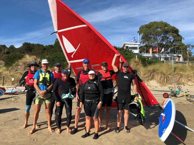 Tasmanian windsurfers in front of the Sandy Bay Sailing Club - photo © Jane Austin