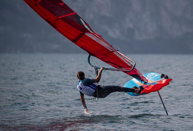 One of the test team makes sailing the Starboard iFoil look as difficult as driving Miss Daisy - World Sailing - Windsurfer Evaluation, Lago di Garda, Italy. September 29, 2019 - photo © Jesus Renedo / Sailing Energy / World Sailing