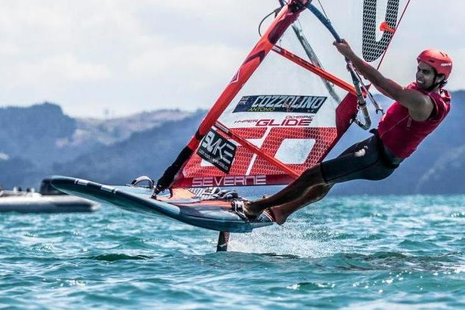 Antonio Cozzolino winning the Giltrap Audi New Zealand Windfoil Championships - Manly Sailing Club - March 2020 - photo © Adam Mustill