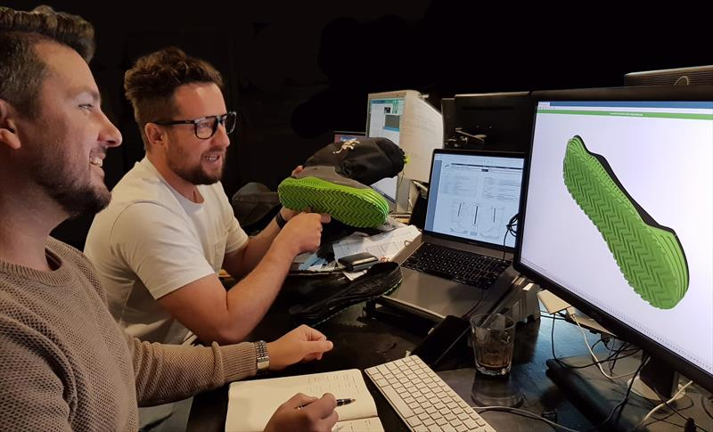 Bart and Drue design the Zhik Volvo Ocean Race footwear photo copyright Zhik taken at  and featuring the  class