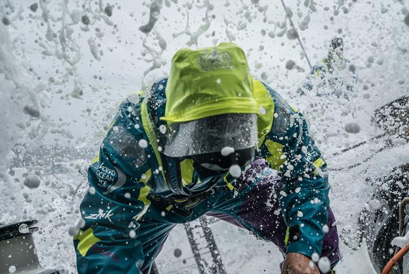 Simeon Tienpont getting hosed in his Isotak X hood on board Team AkzoNobel during Volvo Ocean Race Leg 3 from Cape Town to Melbourne - photo © James Blake / Volvo Ocean Race